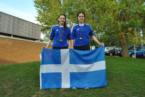 Medal winners: Andrea Strachan (left) and Amy Harper with their gold and silver medals outside the Medina Leisure Centre. Pic. Petur Petursson