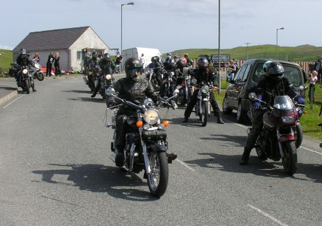Bikers getting ready for the traditional tour of the islands - Photo: Hans J Marter, Shetland News