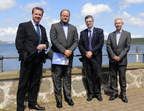 HIE visit (from left to right): chief executuve Alex Paterson, board member Steve Thomson, Shetland area manager Stuart Robertson and chairman Willie Roe.