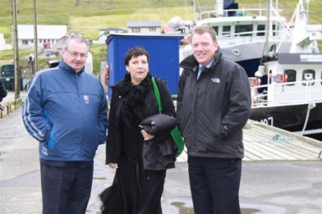 Shetland and Orkney conveners Sandy Cluness and Stephen Hagan flank Klaksvik mayor Gunva vid Keldu during the North Atlantic Island Summit in Faroe. Pic. Aktuelt