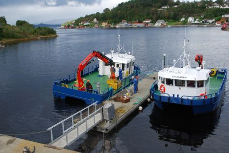 Hjaltland Seafarms' two new workboats Curlew and Crusader before they left Norway, where they were built.