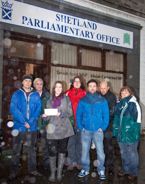 Teachers delivering an open letter to MP Alistair Carmichael's office, in Commercial Street.