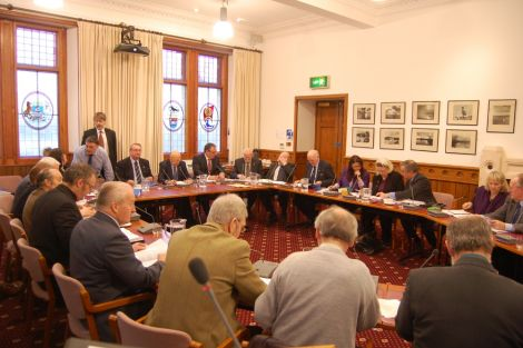 Councillors during a brief break in Thursday's council meeting. Pic. Shetland News