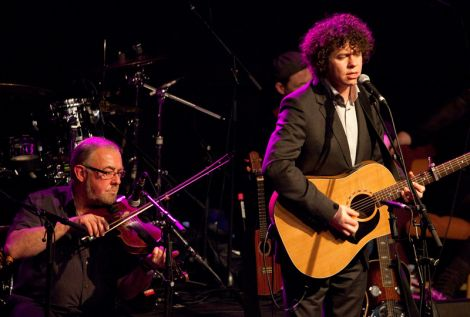 Local fiddle hero Aly Bain with Declan O'Rourke.