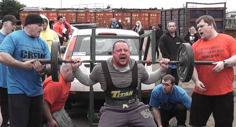 Colin Fraser during the 270kg car squat at Dumfries last weekend.