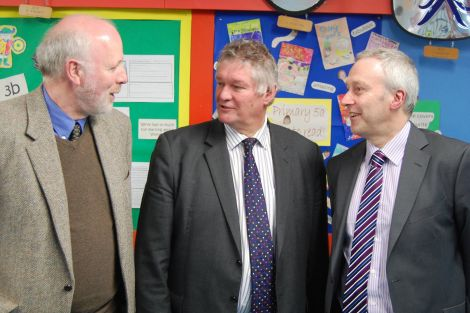 The Commission for Rural Education commissioners after Tuesday's meeting at Sound primary school. From left: rural economy professor Bill Slee, convener Sheriff David Sutherland and Scottish Borders Council education director Glenn Rodgers