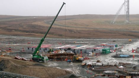 Tanks being constructed on the Total site - Photos: Shetland News