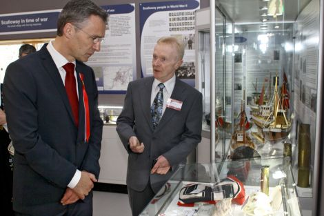 Herr Stoltenberg is shown around the museum by Billy Moore. Pic. Millgaet Media