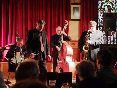The Nova Scotia Jazz Band at Lerwick Town Hall. From left: Donald Findlay, Mike Daly, Ken MacDonald and John Burgess. Pic. Chris Brown