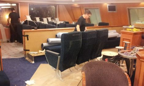 Premium recliner seats being installed at the side of the forward bar on NorthLink's ferries. Pic. Peter Hutchinson