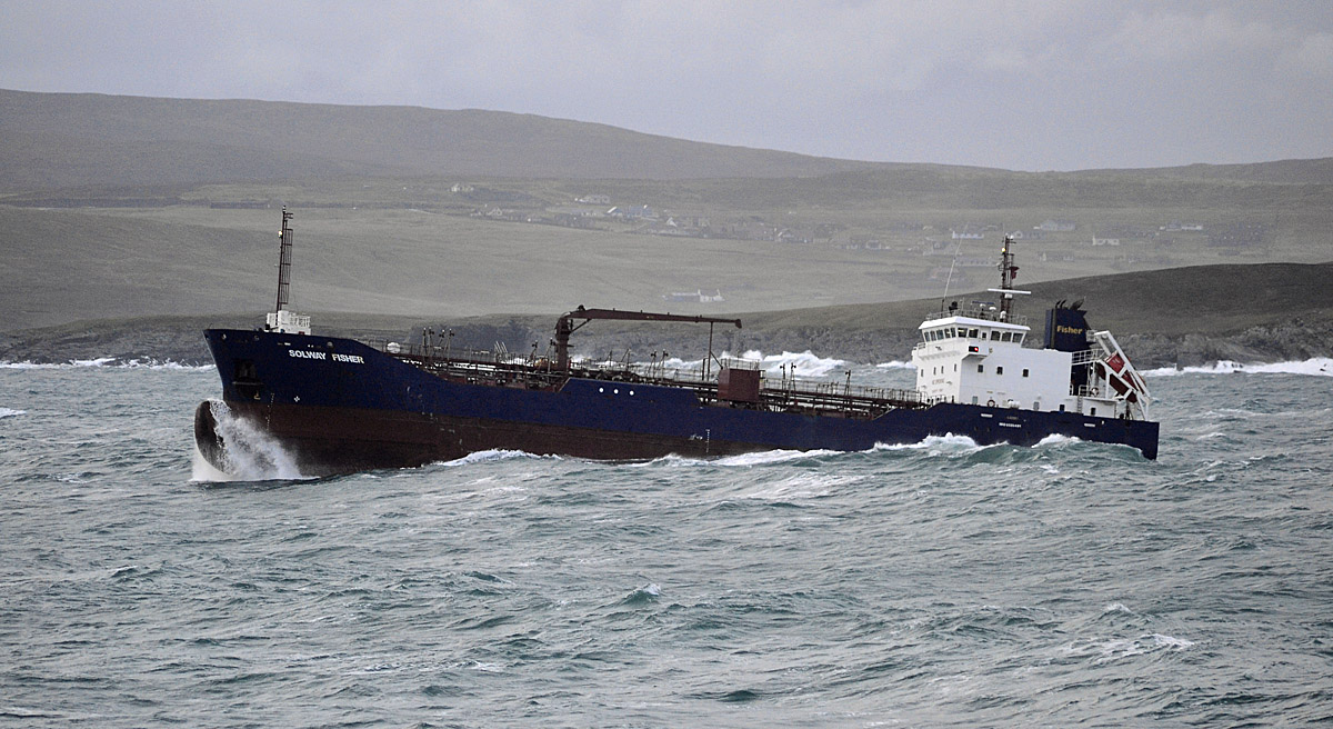 The Bahamas registered tanker Solway Fisher leaving Lerwick harbour on Friday afternoon - Photo: Mark Berry
