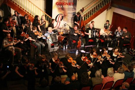 The Orkney Gathering at the premier concert at Orkney's folk festival in 2011