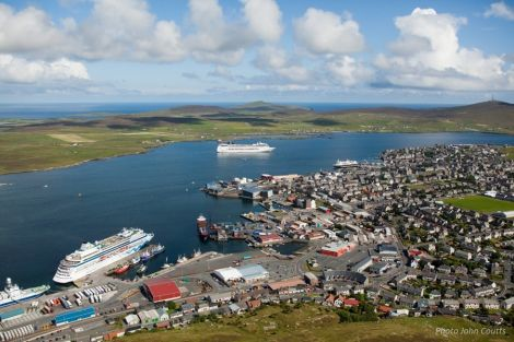 Cruise liners visiting Lerwick last September. Photo LPA/John Coutts