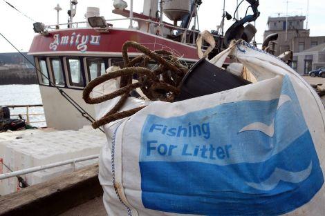 Peterhead fishing boat Amity II landing litter in her home port. Photo Karen Murray