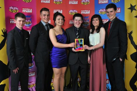 The award winning Shetland Young Scot team. From left: Harry Thomson, Kristoffer Thomason, Holly King, Luke Smith, Lauren Odie and Sam Maver. Photo Sunday Mail