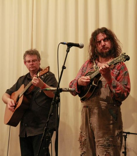 Hippy Joe Hyman (guess which one) and Jason Titley can play and joke at the same time. Photo Olivia Abbott