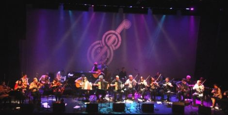 The full Orkney/Shetland Isles Gathering takes the stage at Mareel. Photo Davie Gardner