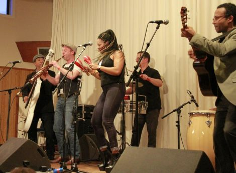 Cuban festival stars Son Yambu managed to get the westside crowd onto their feet, with the help of Ben Somers standing in for their missing brass section. Photo Olivia Abbott