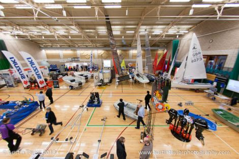 A wide range of boats and equipment was on show in the main hall of the Clickimin Leisure Centre - Photo: Austin Taylor