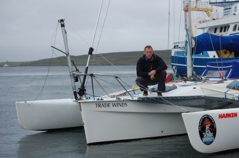 Trade Winds, with its solar panels and wind turbine, is a statement in favour of 'green yachting'. Photo ShetNews