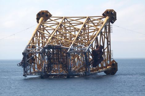 The 21,300 tonne drilling and production jacket on the installation barge shortly before deployment - all photos: BP