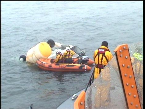RNLI teams were out on Saturday to help with recovery of wreckage - Photo: RNLI