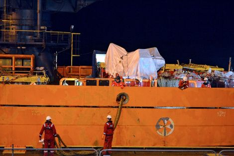 The Bibby Polaris with the helicopter fuselage on board arrived in the early hours of Thursday - Photo: ShetNews