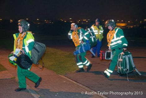 Medical specialists from Aberdeen Royal Infirmary arriving in Lerwick on Friday night - Photo: Austin Taylor