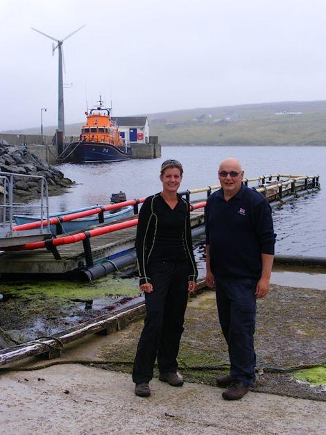 Carol Smithard with Aith lifeboat coxswain Hylton Henry - Photo: Elizabeth Wark/RNLI