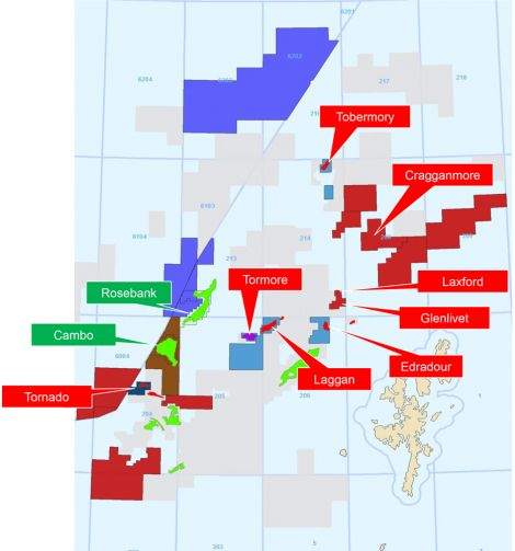 DONG's West of Shetland portfolio with oil fields in green and gas fields in red. Image DONG Energy