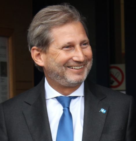 A Shetland convert. European regional aid commissioner Johannes Hahn wearing his Shetland flag lapel badge during last week's visit to the isles.