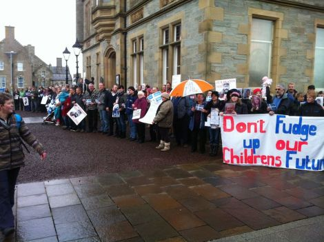Protesters circled the Town Hall, too many to fit in one picture