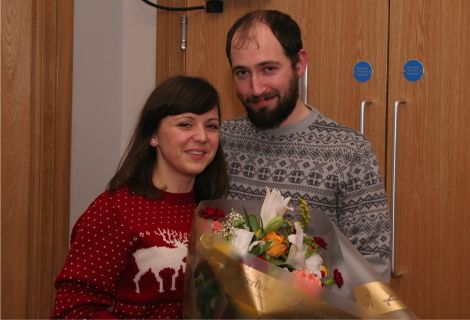 The happy couple: Brian Spence and Helena Kovacevic after the film screening that turned into a wedding proposal. Photo courtesy of Shetland Arts.