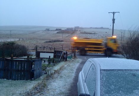 Snow starts to be lying across Shetland including Bressay - Photo: John Bateson