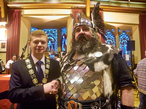 Guizer jarl Ivor Cluness meets council convener Malcolm Bell during Tuesday morning's civic reception in the Lerwick Town Hall - Photo: Chris Brown