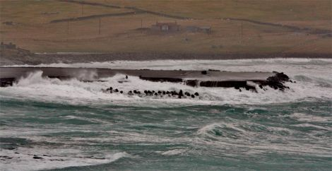 Strong winds flung a large rock onto the runway at Sumburgh Airport. Photo: Ronnie Robertson