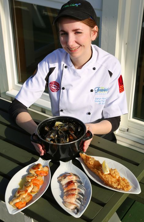 """Brae fish and chip shop Frankie's is """"leading the way"""" in gaining eco-recognition for its seafood. Pictured with some of the certified produce is Carlyn Kearney."""