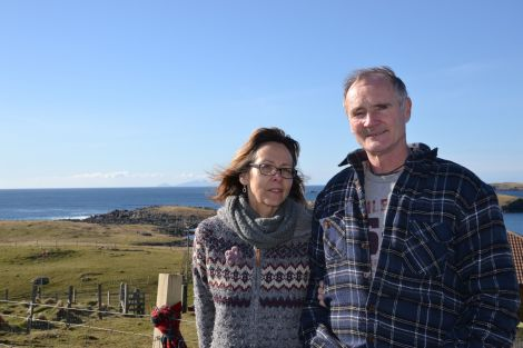 Alyson and Andrew Halcrow outside their home in Hamnavoe. Photo: Neil Riddell/Shetnews