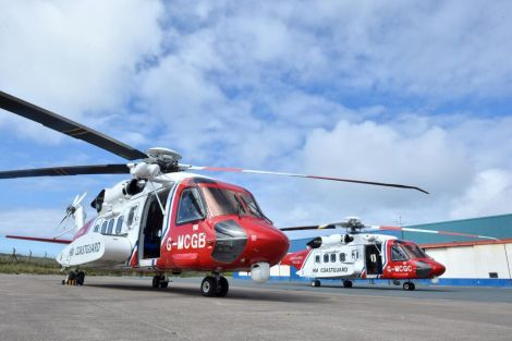 Shetland's new Sikorsky S-92 coastguard search and rescue helicopters at Sumburgh last year.