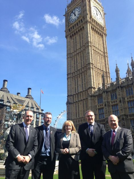 Pictured at Westminster today, from left to right: Comhairle nan Eilean Siar convener Norman MacDonald, Orkney Islands Council convener Steven Heddle, Labour's shadow Scottish secretary Margaret Curran, SIC leader Gary Robinson, Labour MP and Scottish affairs committee chairman Ian Davidson.