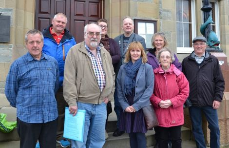 """Parents and carers, pictured following the meeting, are """"very pleased"""" that a new care centre will be built. Photo: Shetnews"""