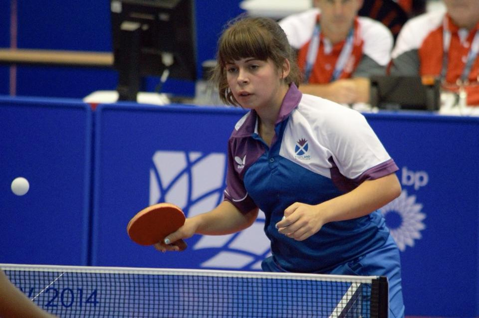 Flaws achieved her aim of qualifying in yesterday's singles preliminary round. Photo courtesy of Drumchapel Table Tennis Club.