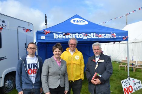 Ruth Davidson joining Better Together Shetland campaigners at their Cunningsburgh Show stall on Wednesday. Photo: Shetnews