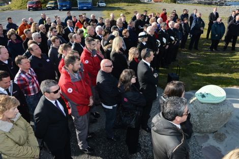 Over 100 people gathered to remember the four people who died in last year's tragic accident. Photo: Malcolm Younger