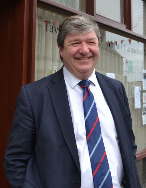 "Isles MP and Scottish Secretary Alistair Carmichael says he is ""straining every sinew"" to achieve a No vote. Photo: Shetnews"