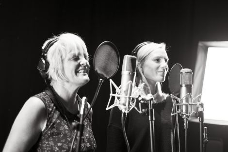 Freda Leask and Louise Thomason recording harmonies for the EP. Photo: Floortje Robertson