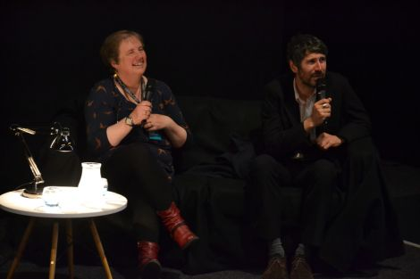 Gruff Rhys pictured with Screenplay's Kathy Hubbard during a Q&A session on Thursday. Photo: Shetnews/Kelly Nicolson Riddell