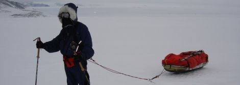 Craig Mathieson man-hauling his sledge to the South Pole - Photo: The Polar Academy