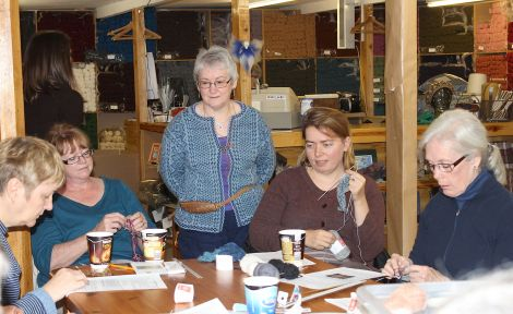 Hazel Tindell's Fair Isle bookmark workshop at Jamieson & Smith - Photo: Hans J Marter/ShetNews