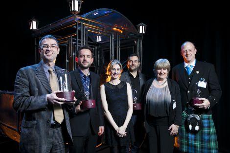 Joint winner of the Placemaking award: Brian Inkster (Inksters), Fraser Anderson (Scottish Ensemble), Jenni Steele (VisitScotland), John Raine (Shell UK), Liz Scott (Shell UK) Martin Danziger (Theatre Modo) - Photo: Eoin Carey.